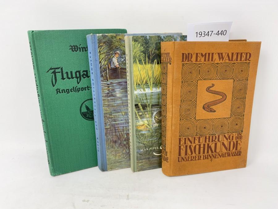 4 Bücher: Der vielseitige Angler, Max Piper; Einführung in die Fischkunde unserer Binnengewässer; Spinnangeln, Max Piper; Flugangeln Angelsport-Band III, Dr. Winter, 1939