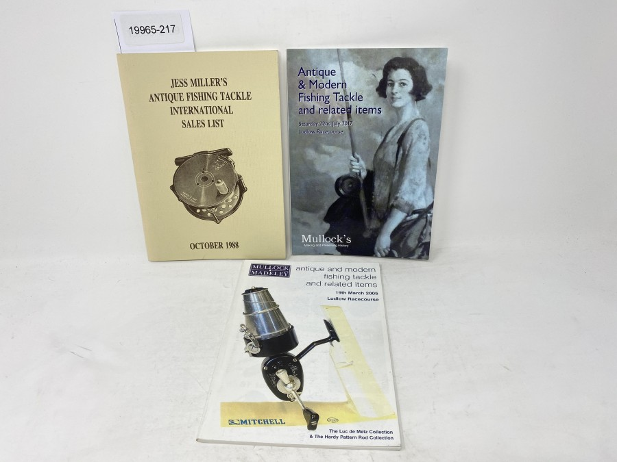 3 Kataloge: Jess Millers Antique Fishing Tackle International Sales List, October 1988; Mullock Madeley antique and modern fishing tackle and related items 2005 und  Bullocks Antique & Modern Fishing Tackle and related items, 2017