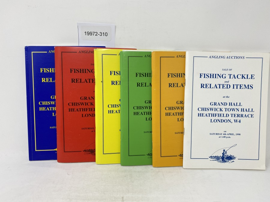 6 Auktionskataloge: Angling Auctions, Neil Freeman, April und October 1998,  March und  October 1999, April und September 2000