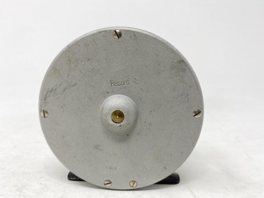 Fliegenrolle Alfred Legrand, Record, Rollenaußendurchmesser 83 mm, Rollenbreite 30 mm, mit alter Seidenschnur, technisch sehr gut, Gebrauchsspuren