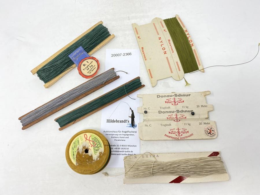 Konvolut mit verschiedenen Schnüren:  Leinen Angelschnur Nr. 1, Nylon Resistance, Donauschnur, Lin Extra, 2 Seidenschnüre, Schnur auf Holzspule