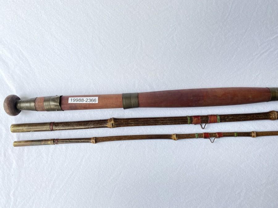 Angelrute aus Bambus, 3tlg., 4,20m, schöner Holzgriff, schönes Dekorationsstück