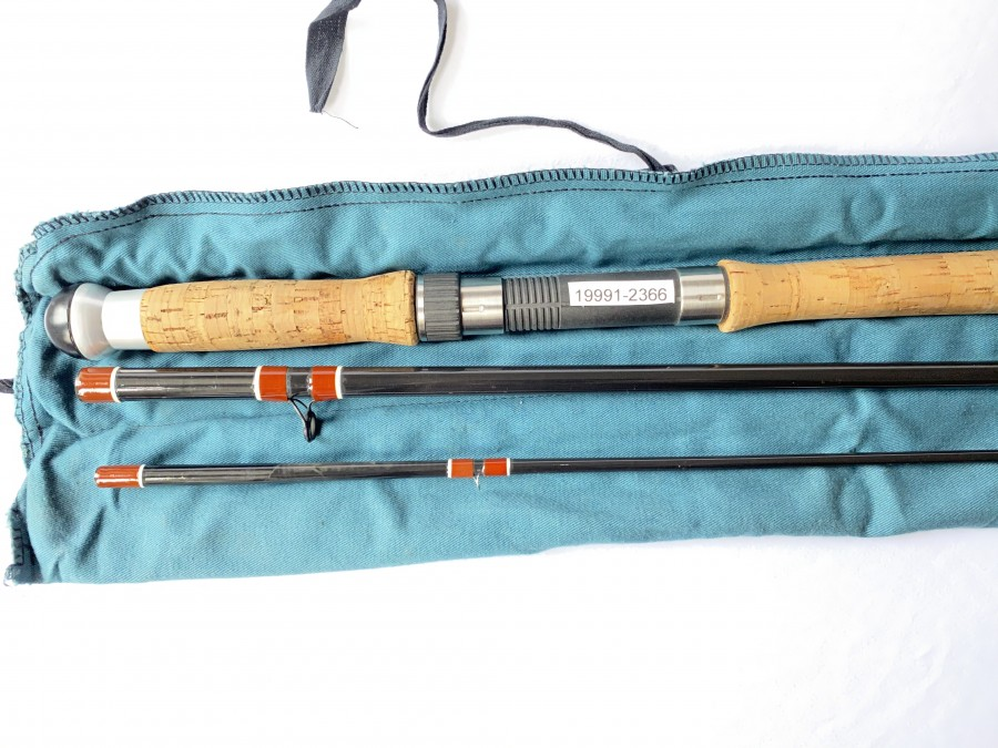 Zweihand Lachsfliegenrute Kingfisher Black Doctor 3tlg., 14 Fuß, # 10, Futteral, wenig gefischt