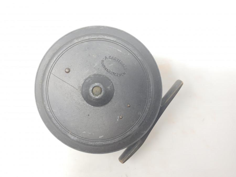 Fliegenrolle, A. Carter & Co, Rolle wurde von Walter Dingley hergestellt, innen gestempelt D 6. D für Dingley, ca. 1930, Messing Rollenfuß, Horngriff, 80mm Durchmesser, 30mm Breite, Super Zustand
