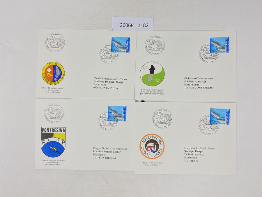 Ersttagsbriefe von 1996. Die Präsidenten von Fischereivereinen in den verschiedenen Sprachregionnen (deutsch, französisch, italienisch, rätoromanisch) haben sich zusammengetan und die Ersttagsbriefe mit der pro junentute Briefmarke (darauf Äsche) an sich schicken lassen und dann untereinander getauscht.  1 Fischerei Zürich, 1 Fliegenfischer Club Pontresina, 1 Club Sportiv Mosche Vaud, 1 Club Pescatori a Tosca-Ticino