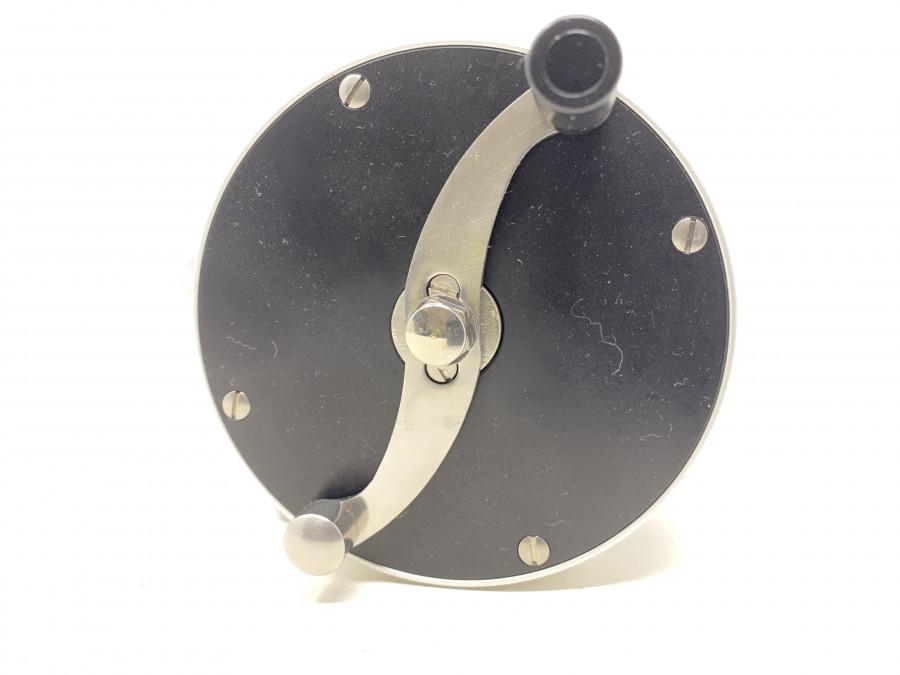 Lachsfliegenrolle, Rechts- oder Linkshand, mit leisem Klicker, kein Bremssystem, silber/schwarz, Klasse 10, 390 gr. neu und ungefischt