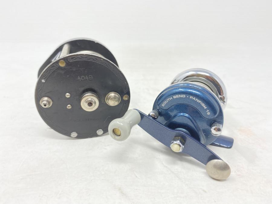 2 Multirollen: DAM 4049, Made in Germany und eine kleine South Bend Panfish 19, Gebrauchsspuren