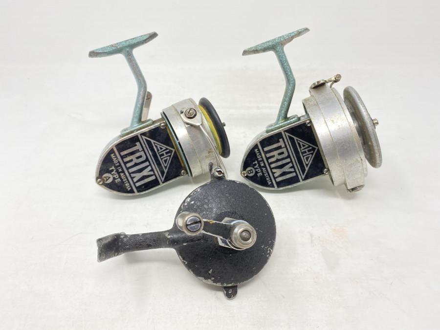 3 Stationärrollen: Trixi, Type A, Made in Austria,  Trixi Type B, Made in Austria, und eine nicht gemarkte interessante Rollen, starke Gebrauchsspuren