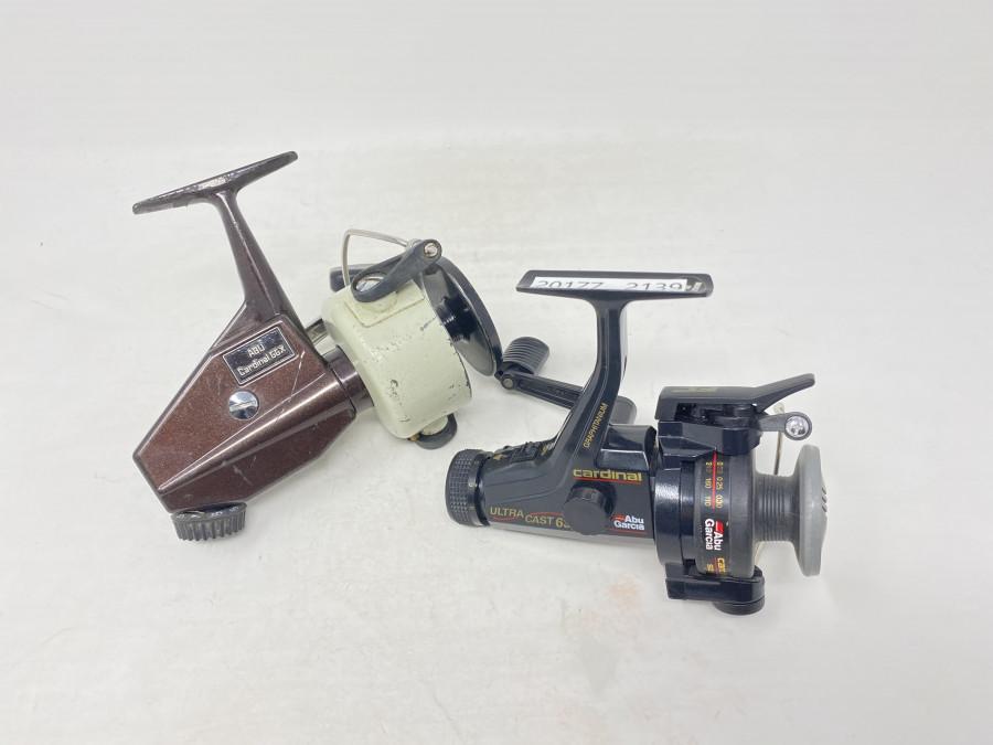 2 Stationärrollen, ABU Cardinal 66X, technisch in Ordnung, Gebrauchsspuren, ABU Garcia Cardinal Ultra Cast, ungefischt
