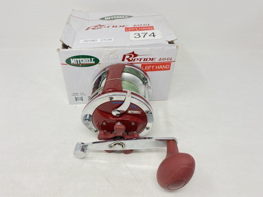 Multirolle, Mitchell Riptide 4/0 GL, Linkshand, mit geflochtener Schnur, neu und ungefischt, neu im Karton