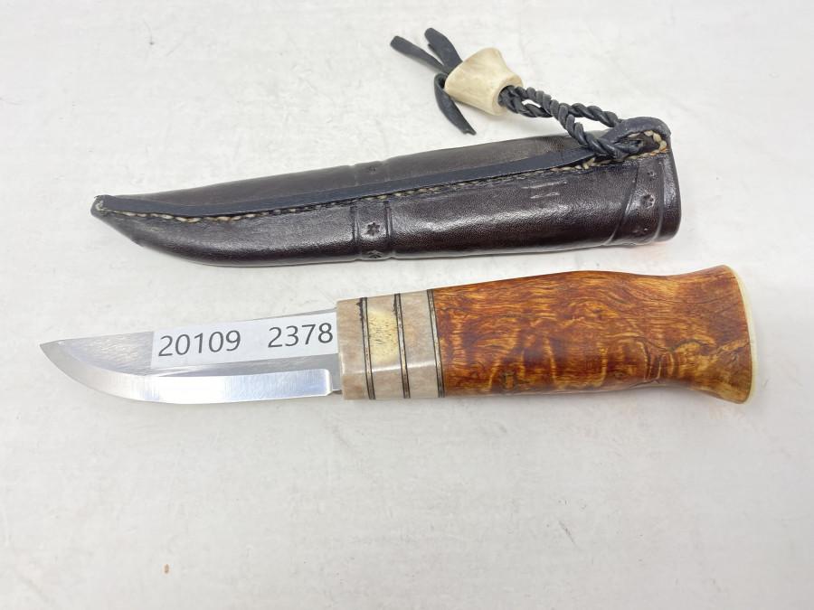 Anglermesser, Edelholzgriff und Hornabschluss, Lederholster, sehr schönes Messer, guter Zustand