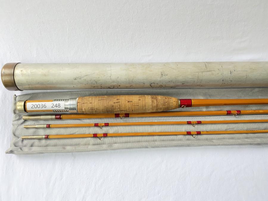 Gespliesste Fliegenrute, Leonard DF 50, 3tlg., 8 Fuß, gebaut für eine #5, Reservespitze, ca. 1950 gebaut, mittelschnelle Aktion mit Leonard Kappe aus dieser Zeit. Die Kappe ist gestempelt The Leonard Rod, H.L.Leonard Rod Co. Makers  REG.U.S. Pat. Off,  Futteral und Alutransportrohr, Gebrauchsspuren