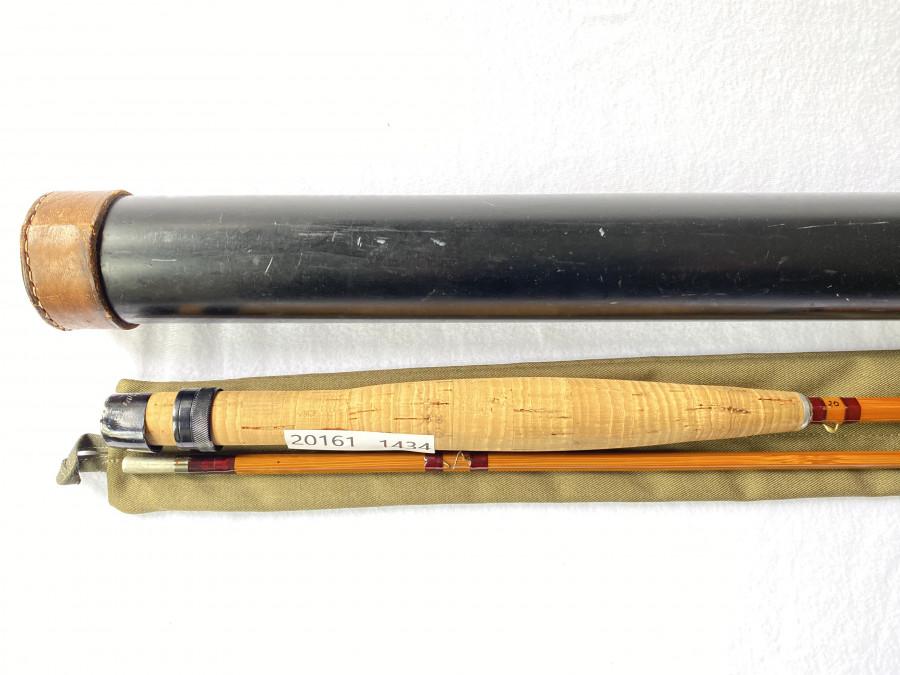 Gespliesste Fliegenrute, brunner - austria, Type Teichl, 2,40m - 115g, #6, Originalfutteral und Transportrohr, Spitze wurde repariert
