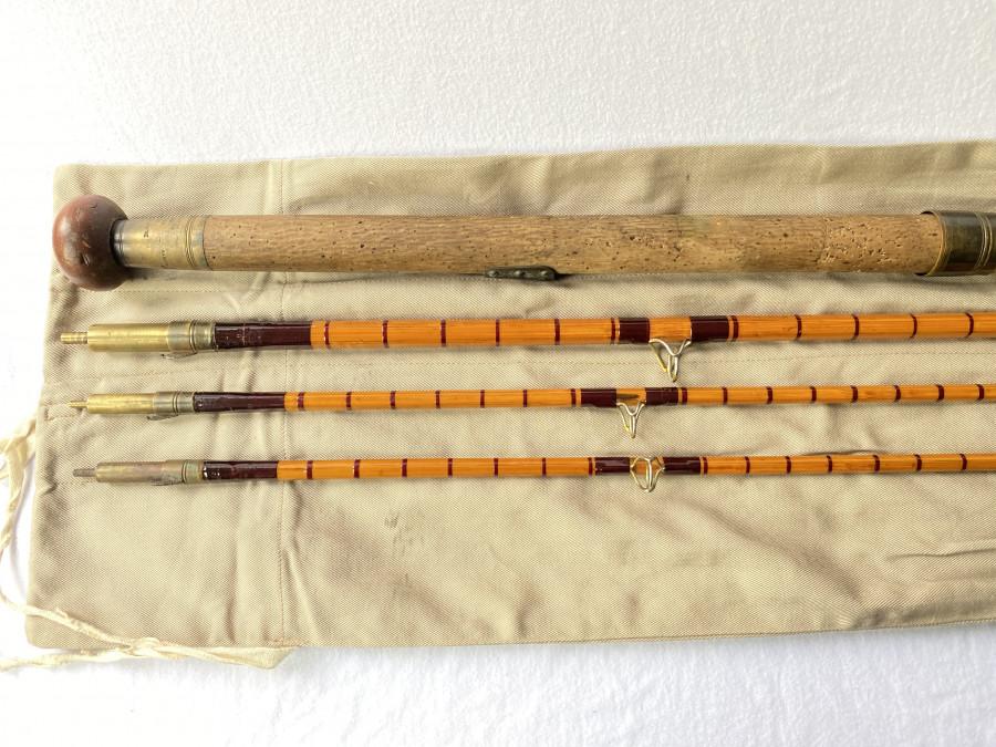 Gespliesste Lachsfliegenrute, Hardy Bros Ltd. Alnwick, England, Patent Steelcentre, 3tlg., 4,30m, #10, Reservespitze 20cm kürzer, Futteral, Gebrauchsspuren