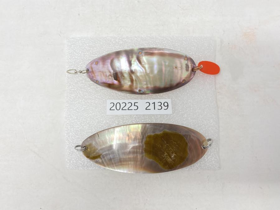 2 Perlmutt Spangen, 8cm mit Kupferinnenauskleidung, 9 cm Perlmutt Spange