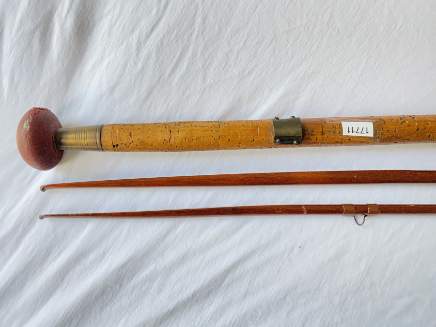Lachsrute aus Lanzenholz, Spliced, Playfair, Aberdeen, mit Reservespitze - Gebrauchsspuren