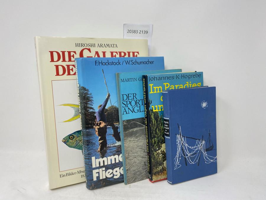 5 Bücher: Die Galerie der Fische, Hiroshi Aramata, 1990; Immer besser Fliegenfischen, F. Hackstock/W. Schumacher, 1979; Der sportgerechte Angler, 7. Auflage, 1971; Im Paradies der Jäger und Fischer, Johannes K. Hogrebe, 1973; Raubfischer in Hellas, Werner Helwig, 1959