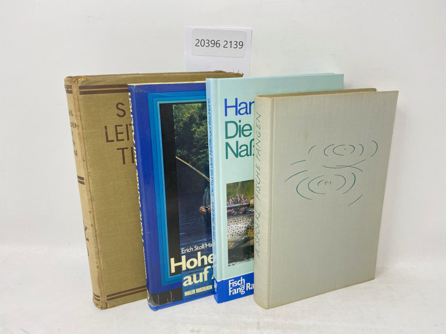 4 Bücher: Hohe Schule auf Äschen, Erich Stoll/Hans Gebetsroither, 1972; Leitfaden der Tierkunde, Dr. O. Schmeil, 1931; Die Kunst des Naßfliegenfischens, Hans Steinfort, 1980; Fische Fangen, Alexander Spoerl