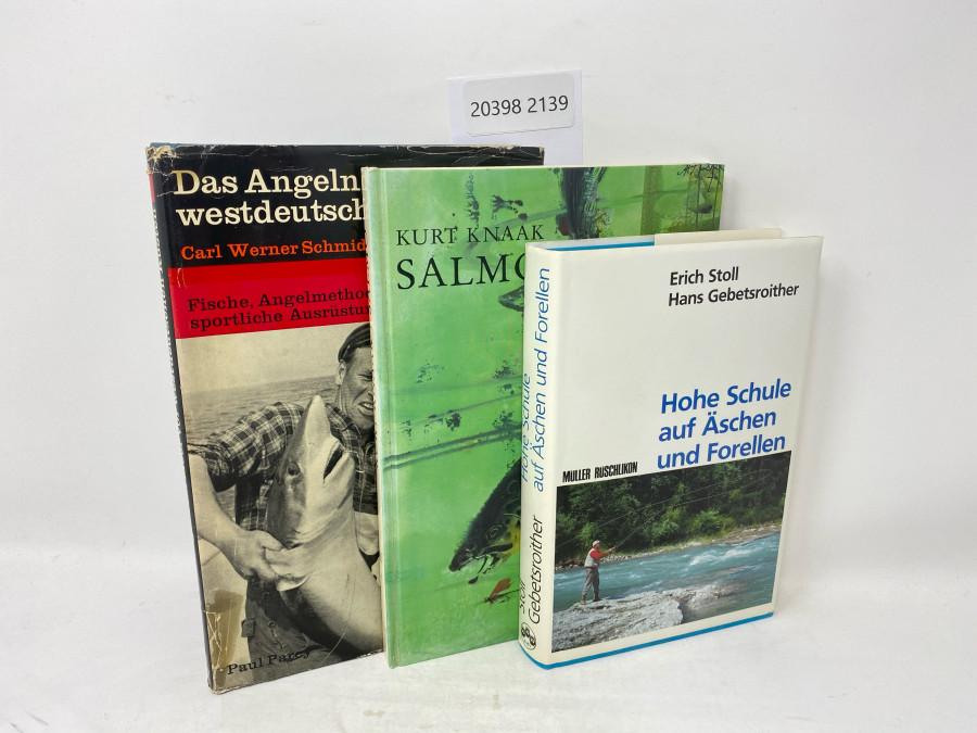 3 Bücher: Hohe Schule auf Äschen und Forellen, Erich Stoll/Hans Gebetroither, 1988; Das Angeln im Meer vor westdeutschen Küsten, Carl Werner Schmidt-Luchs, 1. Band, 1969; Salmo, Kurt Knaak, 1974