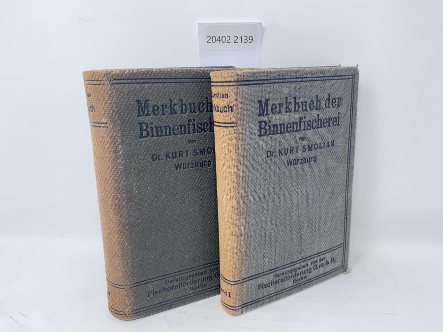 2 Bücher: Merkbuch der Binnenfischerei, Dr. Kurt Smolian, Band I und II, Berlin 1920