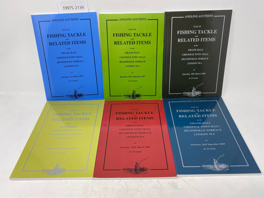 6 Auktionskataloge: Angling Auctions, Neil Freeman, March 2007 und September 2007, March und October 2009, March und September 2009