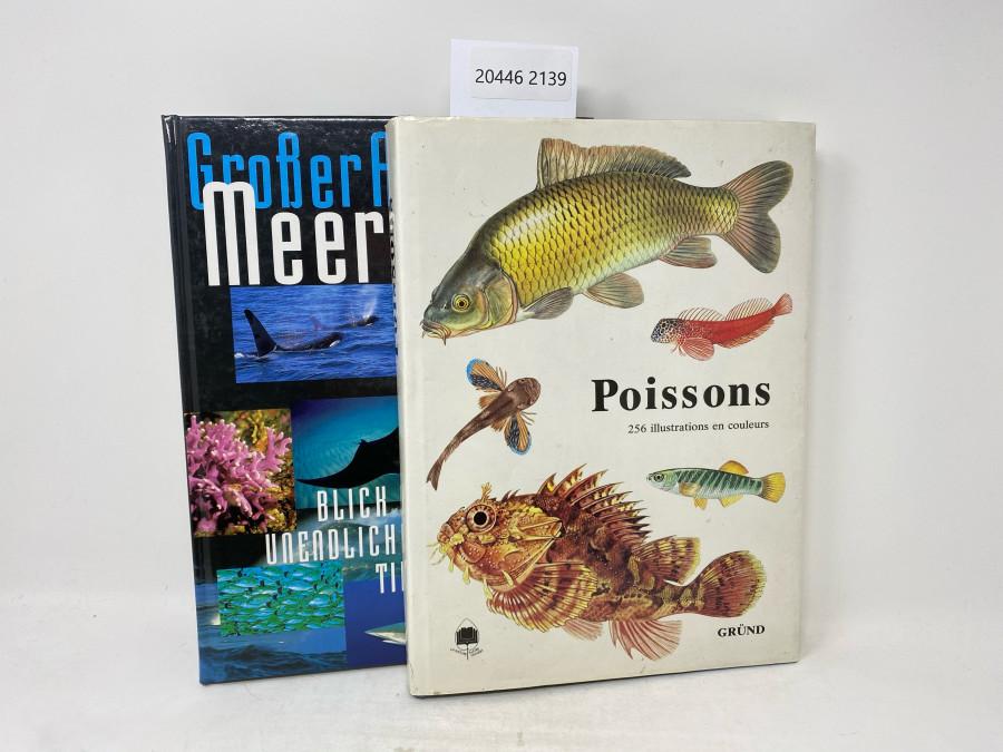2 Bücher: Großer Atlas der Meere, Blick in unendliche Tiefen, John Pernetta; Poissons, 256 illustrations en couleurs, Texte de Karel Pivnicka et Karel Cerny, Paris, 1987