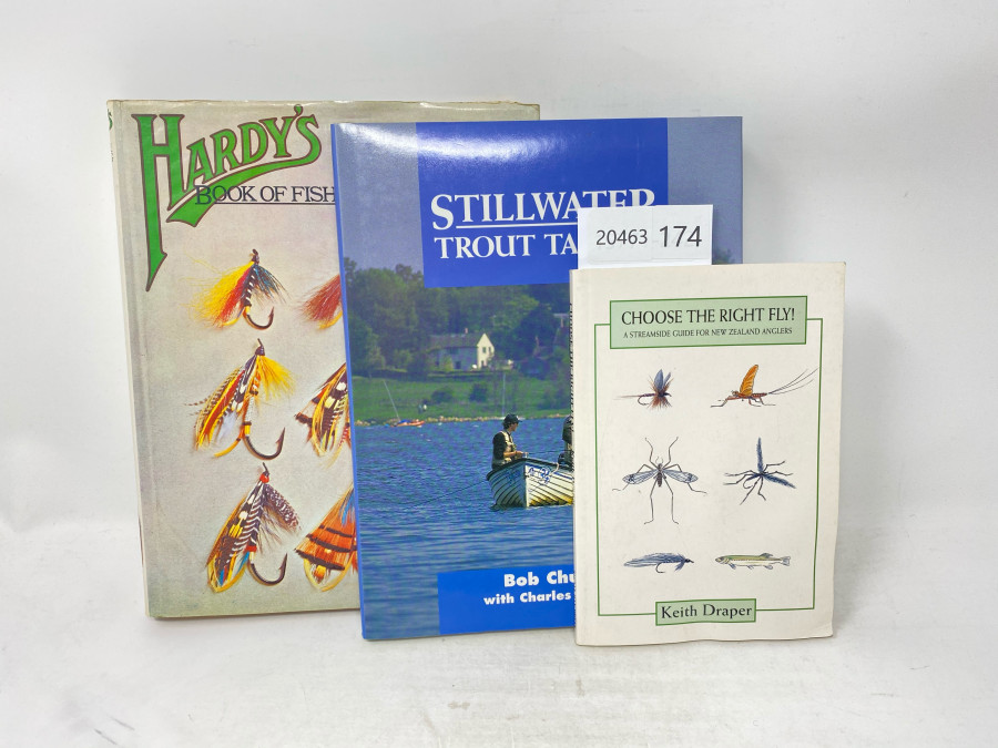 3 Bücher: Hardy´s Book of Fishing, Patrick Annesley, 1971, Stillwater Trout Tactics, Bob Church with Charles Jardine, 1994, Choose the right Fly, Keith Draper, 1997