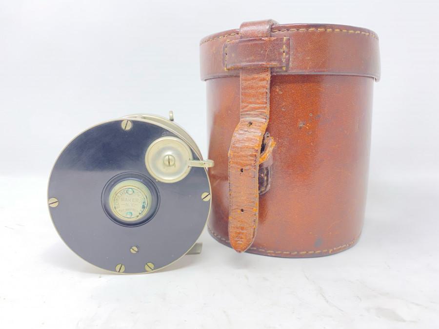 Multirolle, Eward vom Hofe, Maker, N.Y., 621, 4/0, German Silver/Hartgummi, technisch super, Gebrauchsspuren, Blocklederbehälter