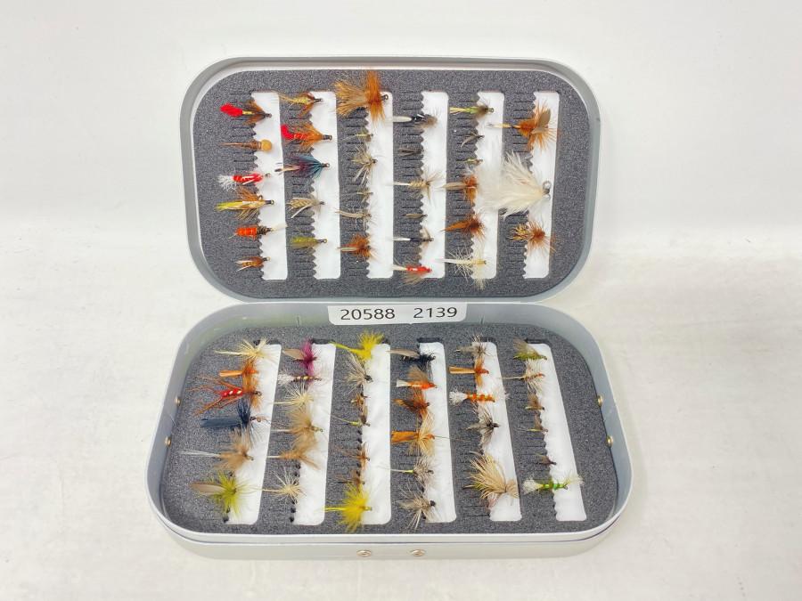 Alu Fliegenbox, mit 68 Trockenfliegen,  Nassfliegen und Nymphen