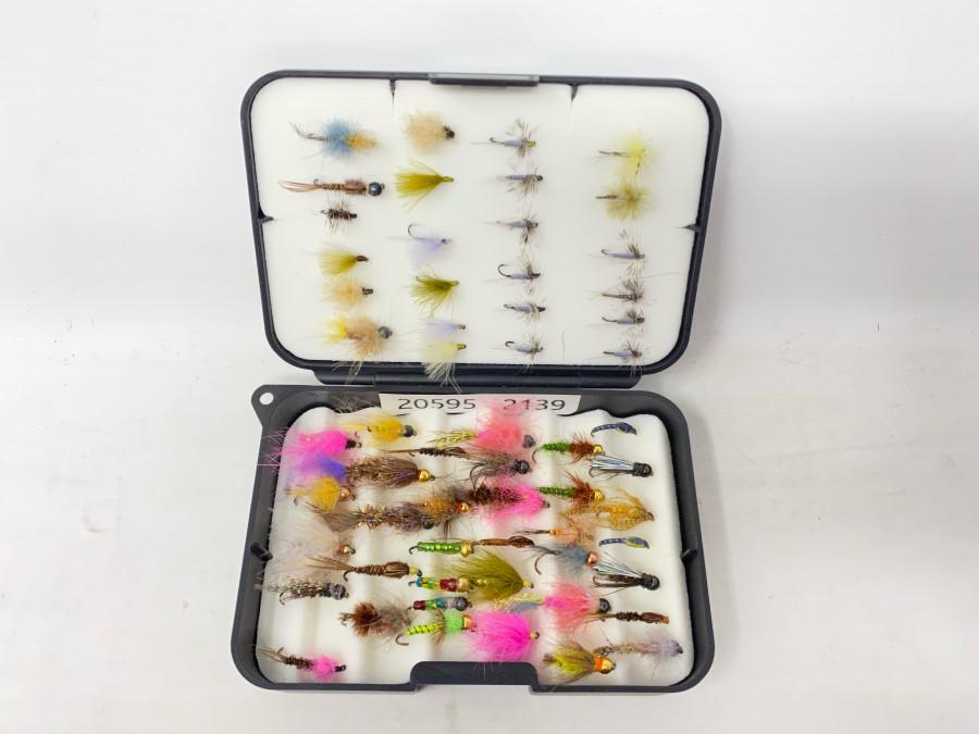 Kunststoff Fliegenbox mit 60 Trockenfliegen und Nymphen, für Forellen und Äschen