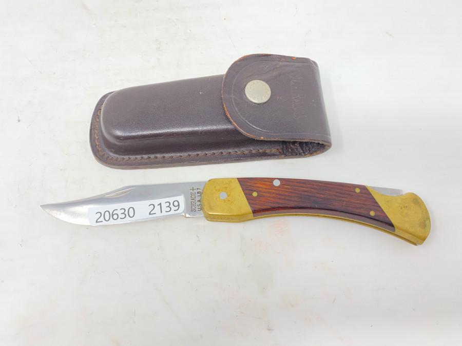 Messer, Schrade, USA, 90mm Klingenlänge, Lederscheide, guter Zustand