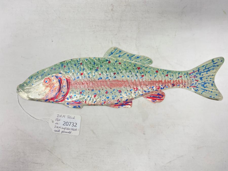DAM Alublech Reklameschild, Fischform, aus den 1950er Jahren, auf der Rückseite mit DAM gemarkt