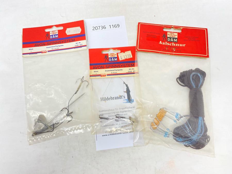 Aalschnur von DAM, Art. Nr. 7222 010, Original verpackt, DAM Avon Spinnsystem, Art. Nr. 5506 003, Orignal verpackt, 1 DAM Avon Spinnsystem Art. Nr. 5506 001, Original verpackt