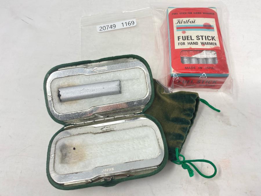 Taschenwärmer mit Tuchhülle, Kiribai und 1 volle Schachtel mit Heizstäben