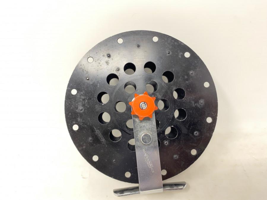 Speedy Laufrolle, Alu schwarz lackiert, 130mm Durchmesser, läuft sehr gut, Gebrauchsspuren