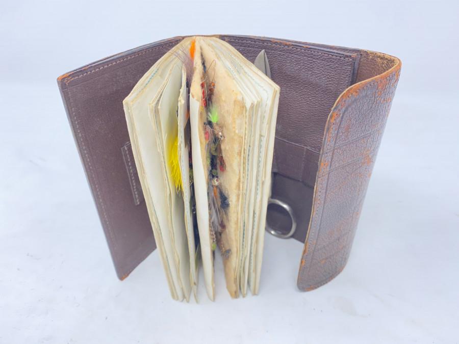 Leder Vorfach- und Fliegen-Wallet, Schere, Gebrauchsspuren