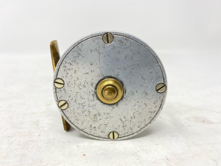 Kleine Angelrolle, S. Allcock & Co, Redditsch, England, Alu/Messing, 60mm Aussendurchmesser, 30mm Rollenbreite, Gebrauchsspuren