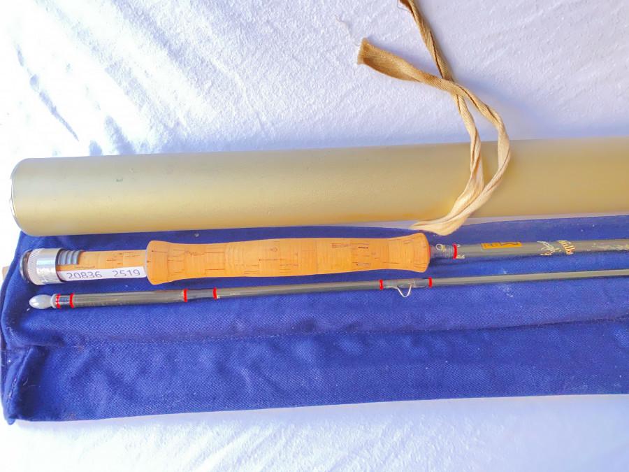Fliegenrute Hardy Richard Walker Farnborbough, 2tlg., 275cm, #7/8, Futteral, Alutransportrohr, Gebrauchsspuren
