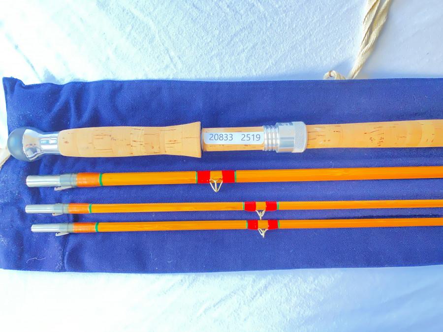 "Gespliesste Lachsfliegenrute Hardy, The Wye Palakona, Regd Trade Mark, 3tl.,  12 1/2"", 390cm, 495 Gramm, #9, Reservespitze, Futteral, neu und ungefischt"