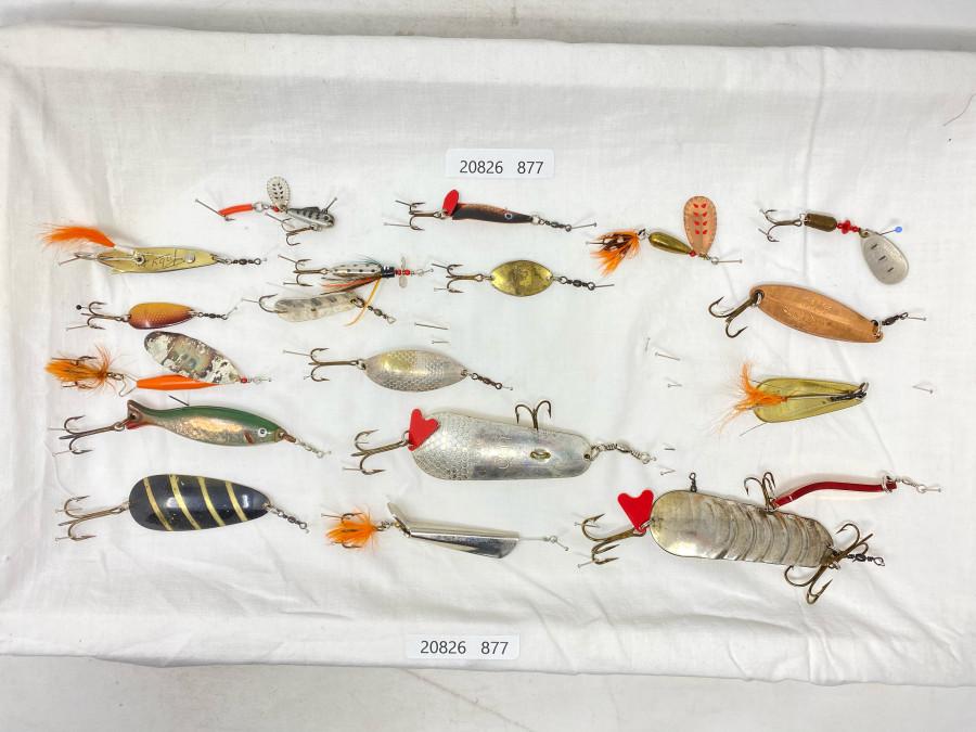 20 verschiedene, alte ABU Köder, alle Made in Sweden, Köder zum Fischen oder Sammeln, guter Gebrauchszustand