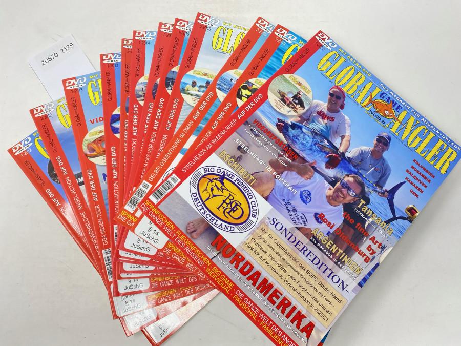 12 Zeitschriften Global Game Angler, 1-2012, 2-2012, 2-2013, 1-2013, 2-2014, 1-2014, 2-2015, 1-2015, 2-2018, 2-2019, 1-2019, 1-2020, ohne DVD's