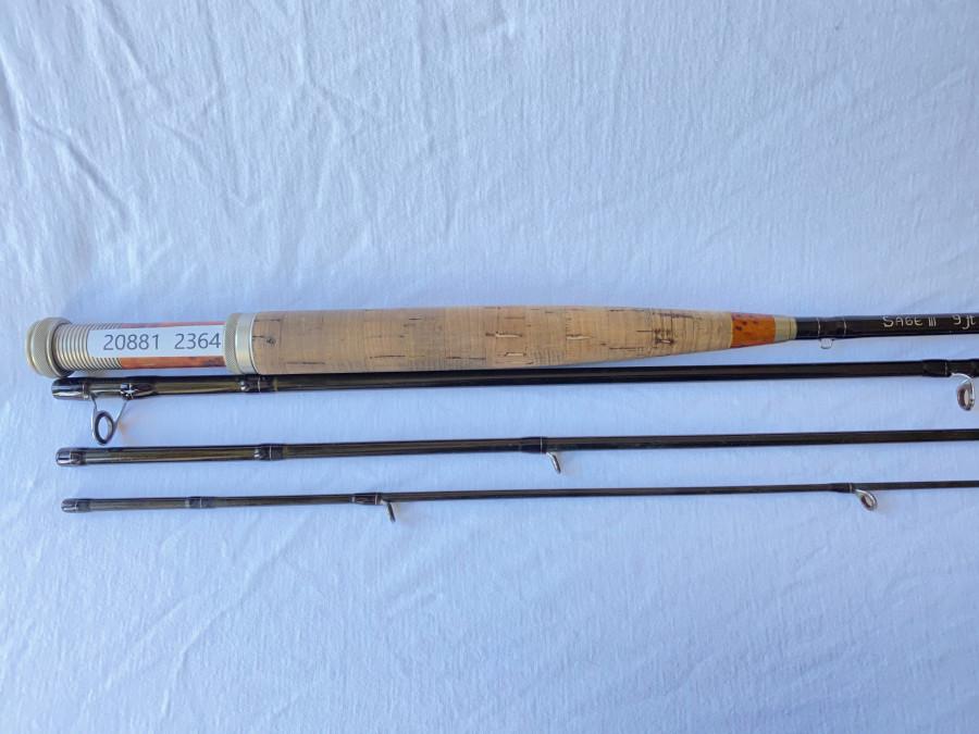 Fliegenrute Sage III  Blank aufgebaut von Erhard Loidl, 4tlg. 9ft, #6, Futteral, guter Zustand,
