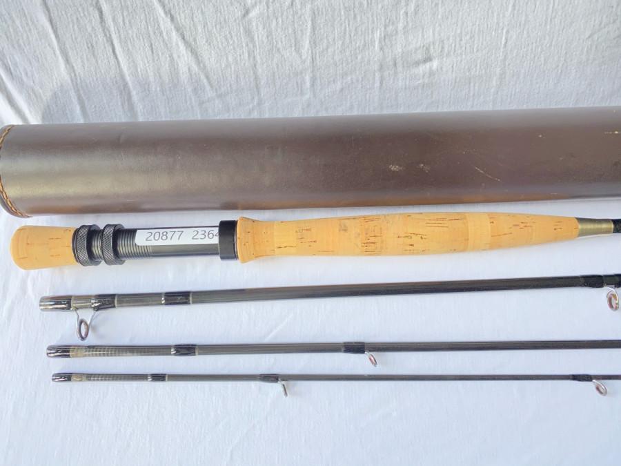 Fliegenrute, von Erhard Lodil aufgebaut, 4tlg., IM 6 Quattro, 9 ft, #8/9, Futteral, Leder Transportrohr, sehr guter Zustand