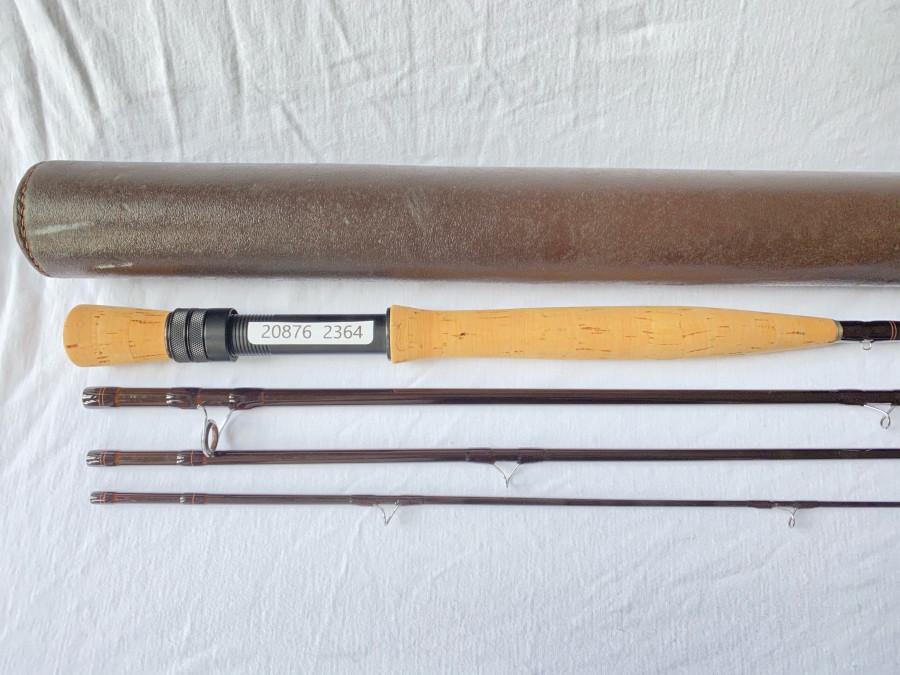 Fliegenrute Sage, Blank aufgebaut von Erhard Loidl, 4tlg., IM 6, 9 ft, #7/8, mit Namenszug, Futteral, Leder Transportrohr, sehr guter Zustand
