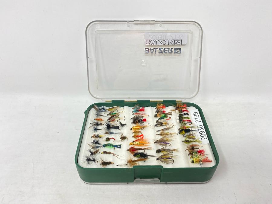 Balzer Fliegenbox mit 68 Trockenfliegen, Nassfliegen und Nymphen für Äsche und Forellen