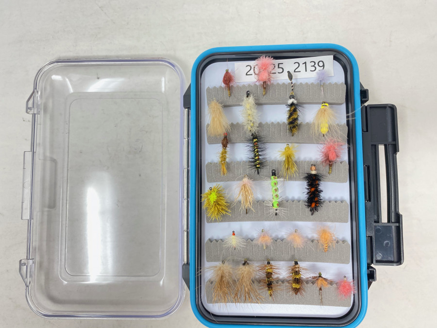 Kunststoff Fliegenbox mit 48 Trockenfliegen, Jig´s und Nymphen für Forelle und Äsche