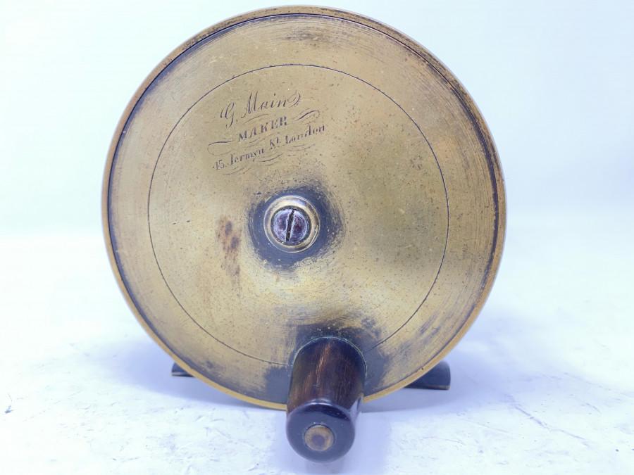 Messing Lachsrolle, G. Main Maker, London, Horngriff, 100mm Rollenaussendurchmesser, 50mm Rollenbreite, sehr guter Zustand