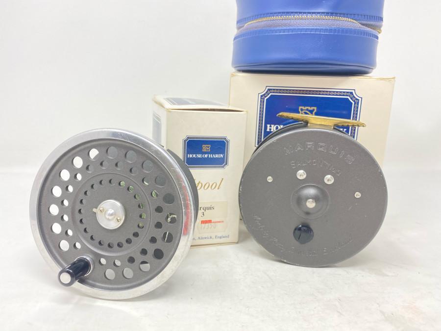 Lachsfliegenrolle, Hardy Marquis Salmon 3, Rollentasche und Reservespule, im Karton, Gebrauchsspuren