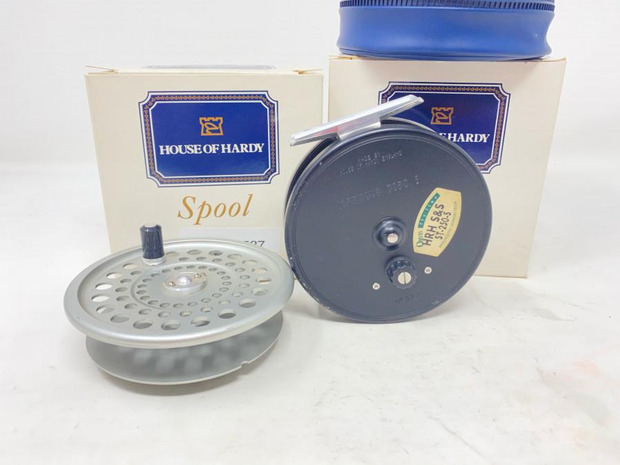 Fliegenrolle Hardy Marquis Disc 8, mit Fliegenschnur HRH S&S, ST-250-S, Rollentasche und Reservespule, jeweils im Karton, Gebrauchsspuren