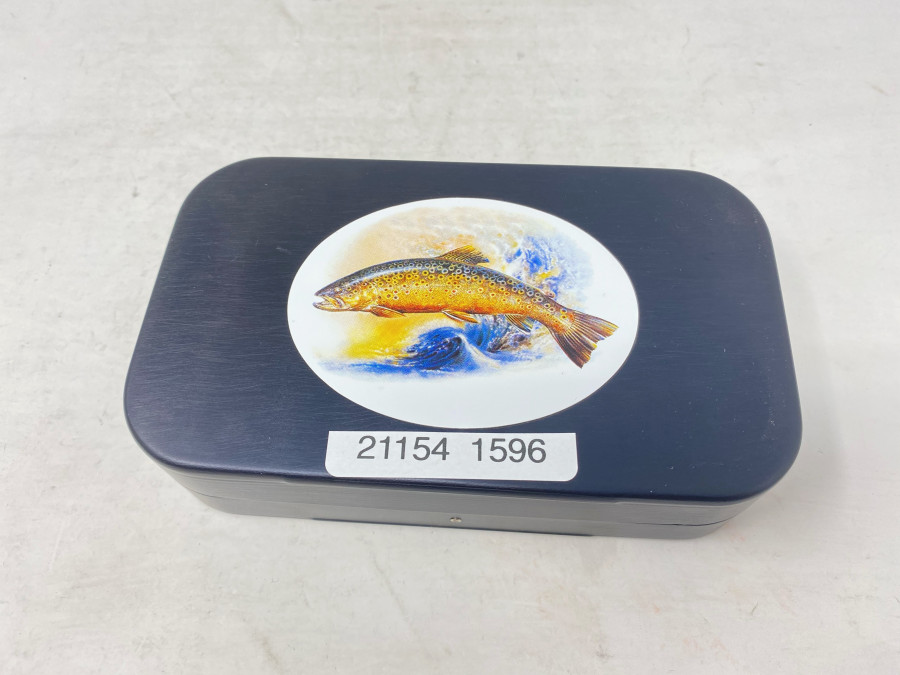 Wheatley Fliegenbox, beidseitig Foam, 150x90x35mm, Deckel mit Motiv Bachforelle, neu